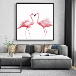 Framed 48 x 48 - Two pink flamingo watercolor