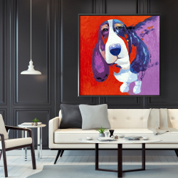Framed 48 x 48 - Abstract colorful basset dog