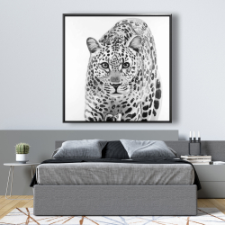 Framed 48 x 48 - Leopard ready to attack