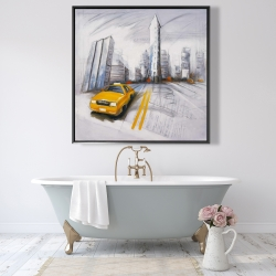 Framed 48 x 48 - Yellow taxi and city sketch
