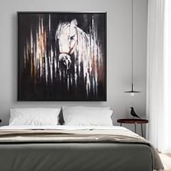 Framed 48 x 48 - White horse in the dark