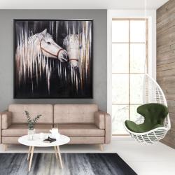 Framed 48 x 48 - Two white horses kissing