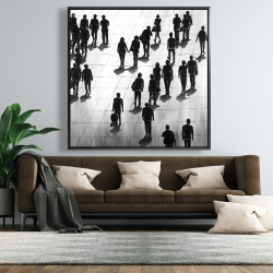 Framed 48 x 48 - Silhouettes of people on the street