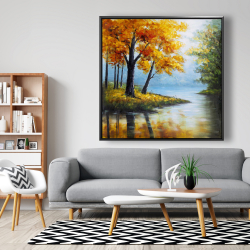 Framed 48 x 48 - Trees by the lake