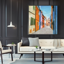Framed 48 x 48 - Colorful houses in italy