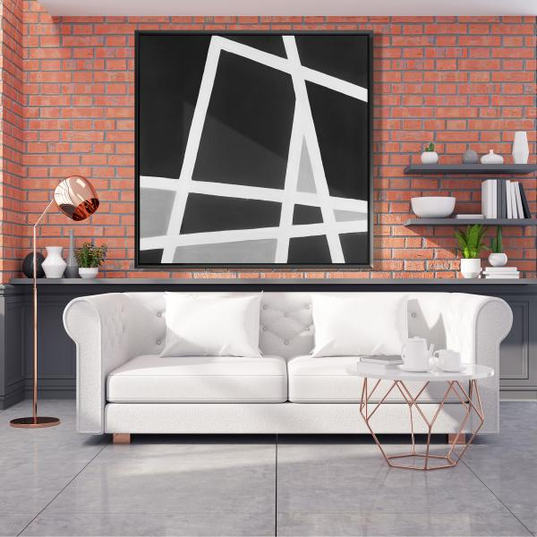 Framed 48 x 48 - Black and white abstract lines