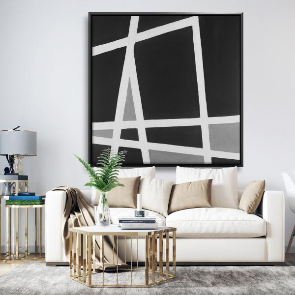 Framed 48 x 48 - Black and white abstract shapes
