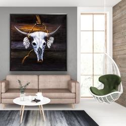 Framed 48 x 48 - Hanged bull skull