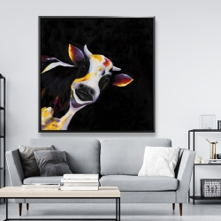 Framed 48 x 48 - One funny cow