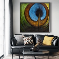 Framed 48 x 48 - Peacock feather center