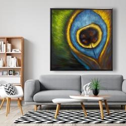 Framed 48 x 48 - Peacock feather closeup