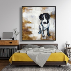 Framed 48 x 48 - Sitting dog