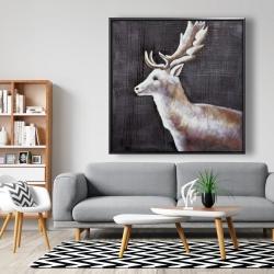 Framed 48 x 48 - Deer profile view in the dark
