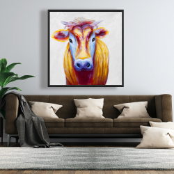 Framed 48 x 48 - Colorful country cow