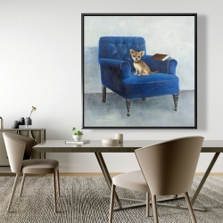 Framed 48 x 48 - Chihuahua on a blue armchair