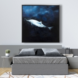 Framed 48 x 48 - Swimming dolphin