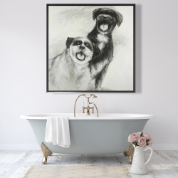 Framed 48 x 48 - Happy dogs sketch