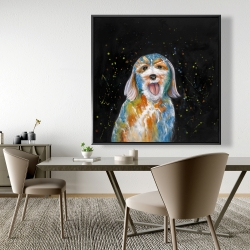 Framed 48 x 48 - Abstract labradoodle