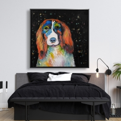 Framed 48 x 48 - Colorful dog