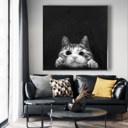 Framed 48 x 48 - Curious cat