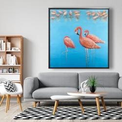 Framed 48 x 48 - Group of flamingos