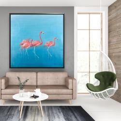 Framed 48 x 48 - Four flamingos