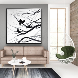 Framed 48 x 48 - Birds and branches silhouette