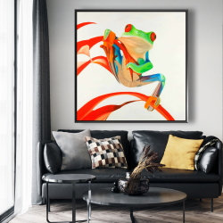 Framed 48 x 48 - Red-eyed frog