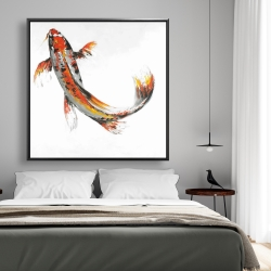 Framed 48 x 48 - Butterfly koi fish