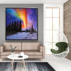 Framed 48 x 48 - Aurora borealis in the forest