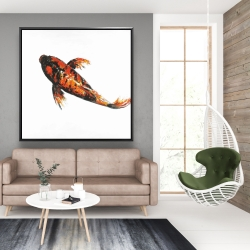 Framed 48 x 48 - Red butterfly koi fish