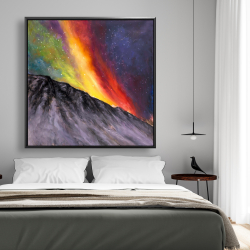 Framed 48 x 48 - Aurora borealis in the mountain