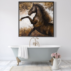 Framed 48 x 48 - Horse rushing into the soil