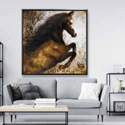 Framed 48 x 48 - Horse rushing into the dust