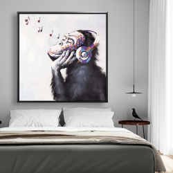 Framed 48 x 48 - Monkey listening music