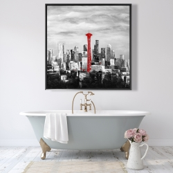Framed 48 x 48 - Space needle in red