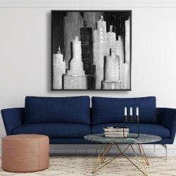 Framed 48 x 48 - Abstract black and white cityscape
