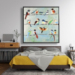 Framed 48 x 48 - Small abstract colorful birds