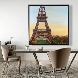 Framed 48 x 48 - Eiffel tower by dawn