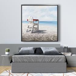 Framed 48 x 48 - White beach chair