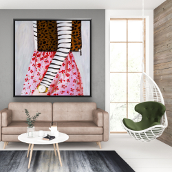 Framed 48 x 48 - Fashionable woman with a leopard bag