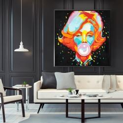 Framed 48 x 48 - Colorful marilyne monroe bubblegum