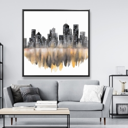 Framed 48 x 48 - Yellow watercolor cityscape