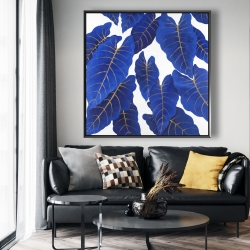 Framed 48 x 48 - Tropical abstract blue leaves