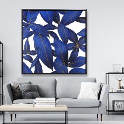 Framed 48 x 48 - Abstract modern blue leaves