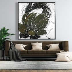 Framed 48 x 48 - Abstract flower with paint splash