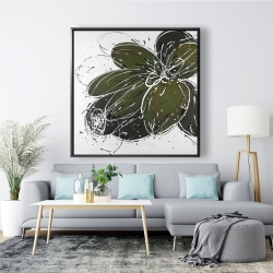 Framed 48 x 48 - Green flower with splash outline