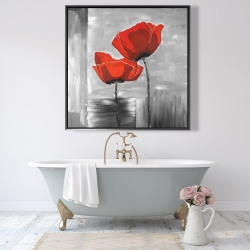 Framed 48 x 48 - Two red flowers on a grayscale background