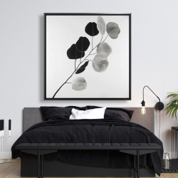 Framed 48 x 48 - Grayscale branch with round shape leaves