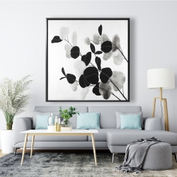 Framed 48 x 48 - Grayscale branches with leaves